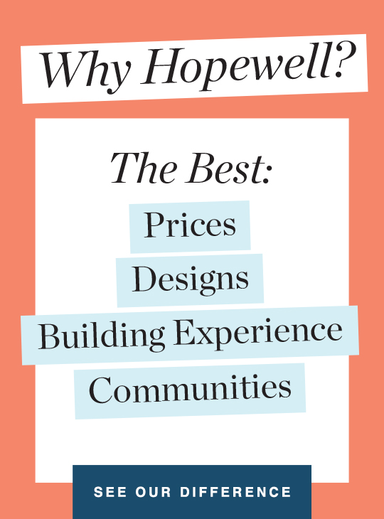 Why Hopewell? The Best: Prices, Designs, Building Experience, Communities graphic